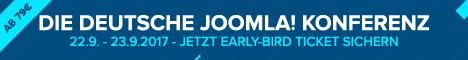Banner des JoomlaDay Deutschland 2017 - 22.+23. September 2017 in Königstein mit dem Aufruf sich jetzt bereits Early Bird Tickets zu sichern